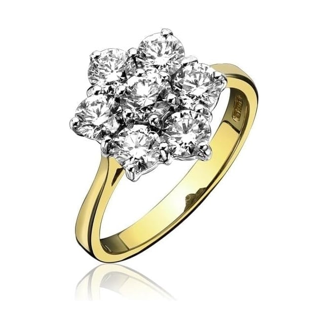 18ct Gold Claw Set Diamond 0.5ct Cluster Ring