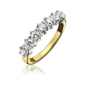 18ct Gold Claw Set Diamond 0.64ct Half Eternity Ring