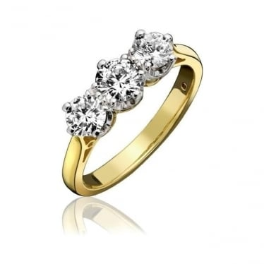 18ct Gold Claw Set Three Stone Diamond 0.38ct Engagement Ring