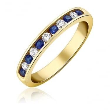 18ct Gold Diamond & Sapphire Channel Set Half Eternity Ring