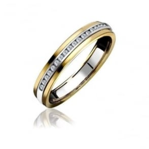 18ct Yellow & white Gold Channel Set Diamond Half Eternity Ring