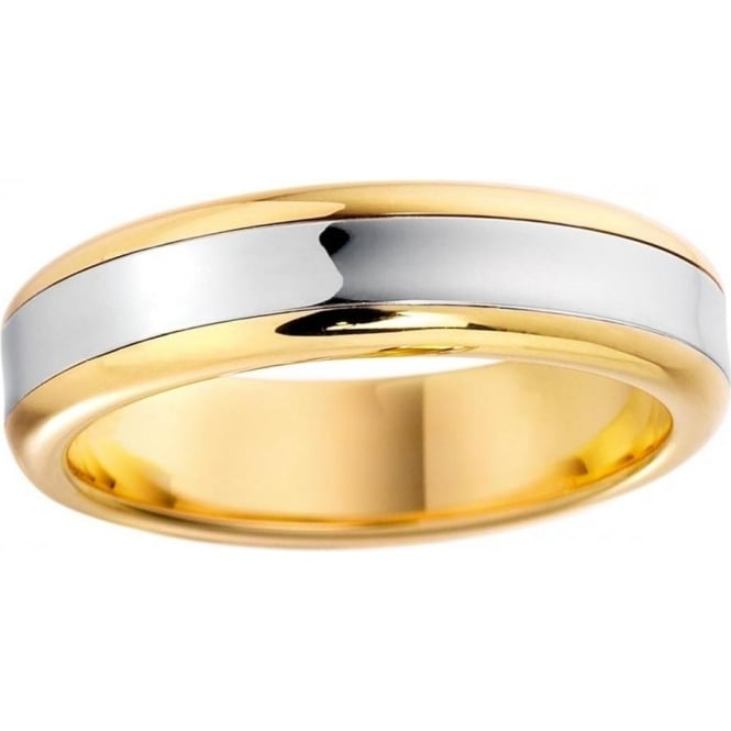 9ct Gold Two Colour 4mm Wide Flat Court Profile Wedding Band