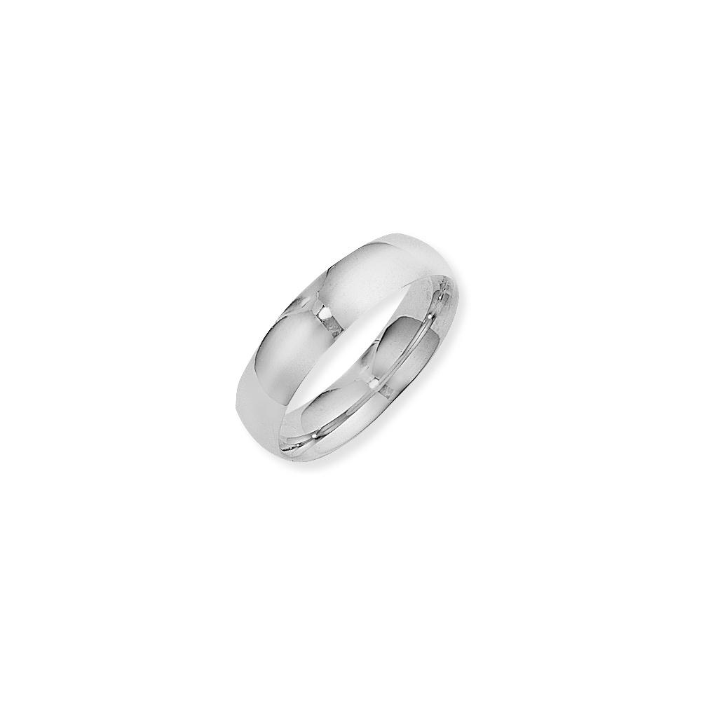 9ct White Gold Court Shape Polished Mens Wedding Ring 6mm