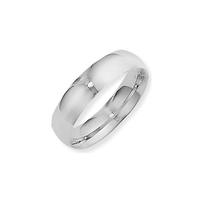 9ct White Gold Court Shape Polished Wedding Ring 6mm Wide