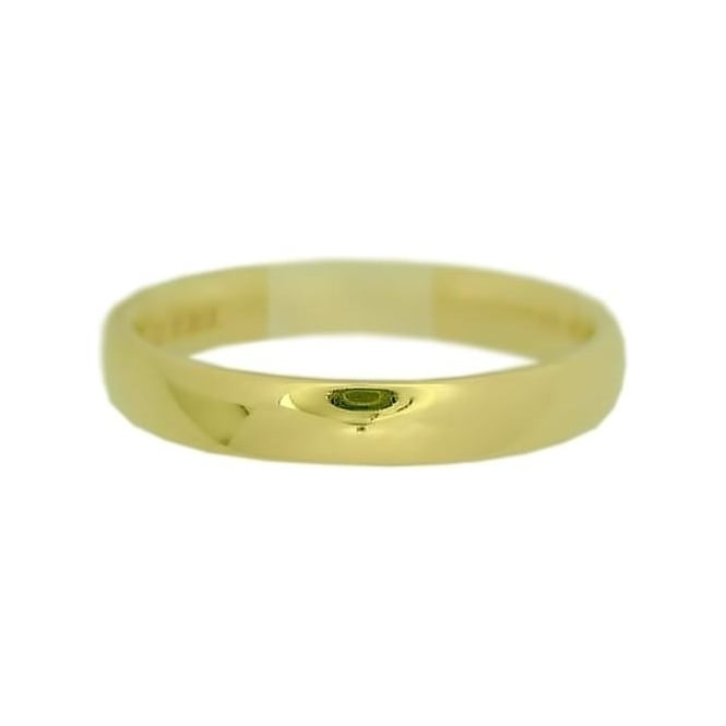 9ct Yellow Gold Ladies 3mm Wide Court Profile Wedding Ring