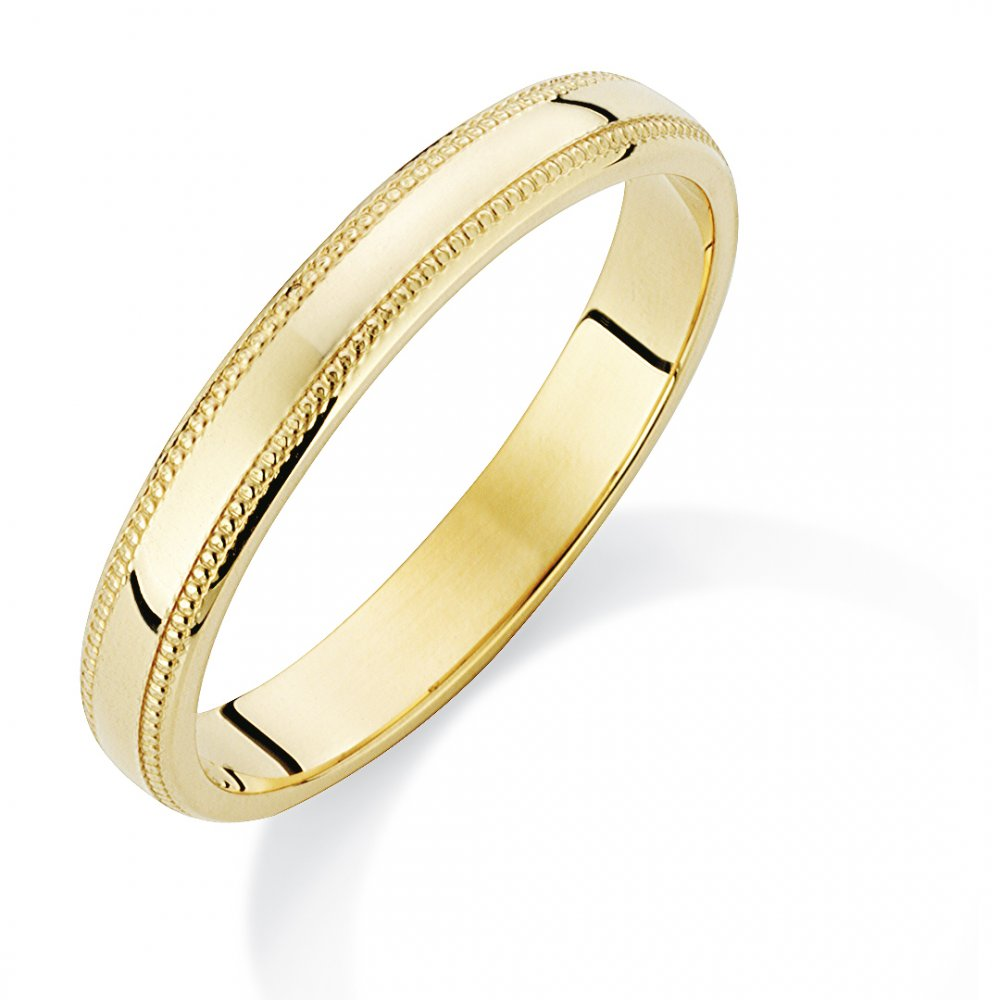 9ct Gold Ladies Wedding Ring With Pattern Edge Chester