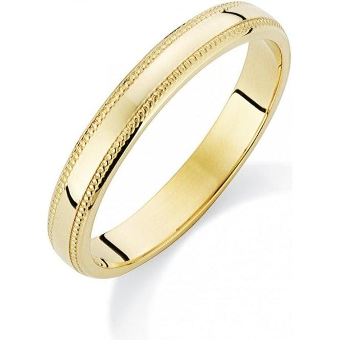 9ct Yellow Gold Ladies Wedding Ring with Millgrain Edge 3mm
