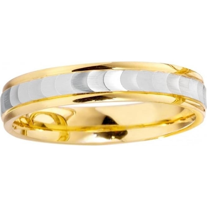 9ct Yellow & White Wedding Ring 4mm Wide, Flat Court Profile