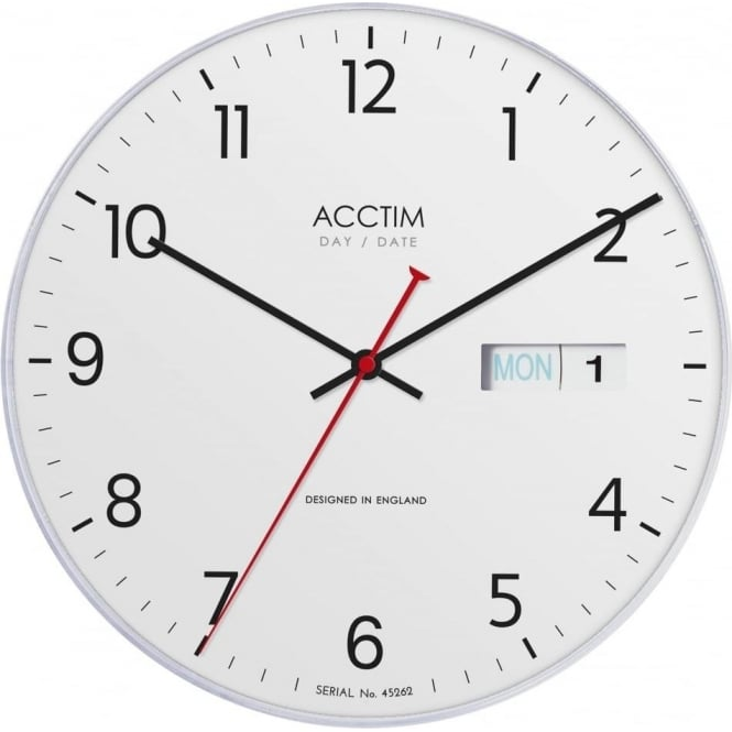Acctim Day Date Wall Quartz Battery Mantle Clock Datetime 22222