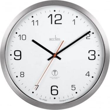 Acctim Silver Finish Radio Controlled Battery Clock Atomik 74637