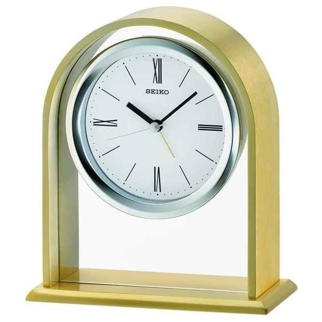 Seiko Clocks Arch Top Quartz Mantle Clock with Alarm QHE134F