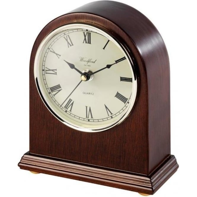 Woodford Arch Top Wooden Quartz Battery Mantle Clock 1441