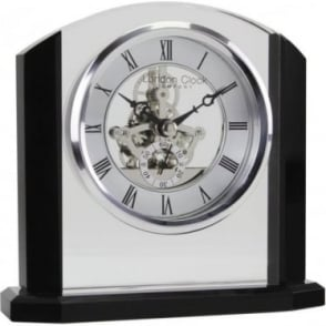 Black & Glass Skeleton Movement Mantle Clock 05162