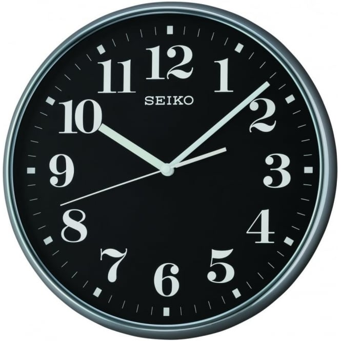 Seiko Clocks Black Round Quartz Battery Wall Clock with Clear Numbers QXA697A