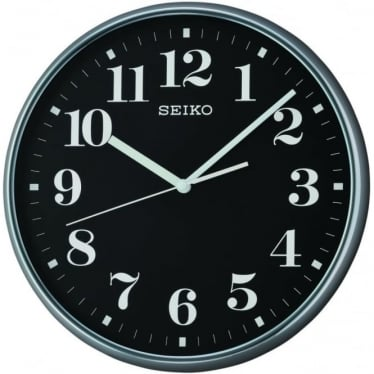 Black Round Quartz Battery Wall Clock with Clear Numbers QXA697A