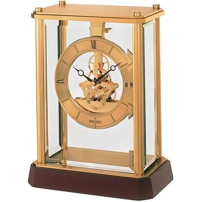 Seiko Clocks Brass Quartz Mantle Clock with Skeleton Movement QHG033G