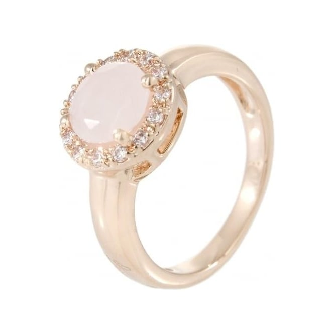 Bronzallure Jewellery Bronzallure Faceted Rose Quartz & Cubic Zirconia Ring