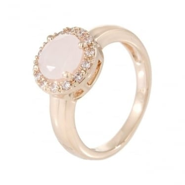 Bronzallure Faceted Rose Quartz & Cubic Zirconia Ring
