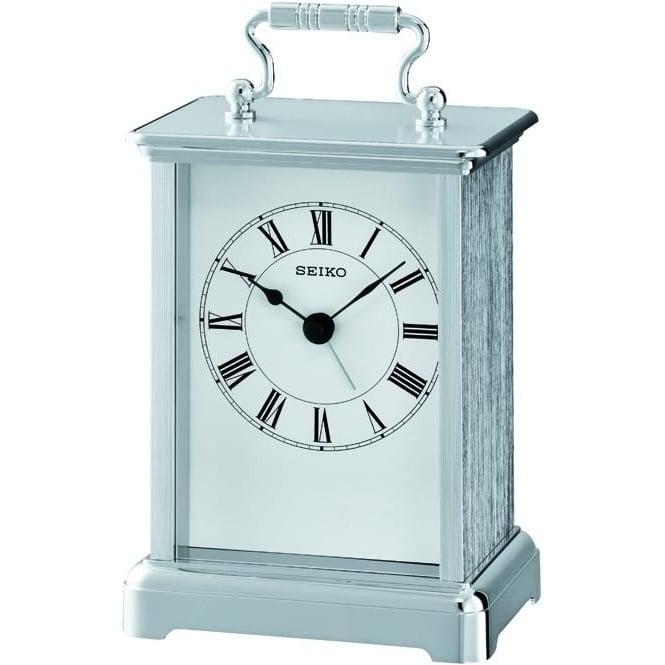 Seiko Clocks Chrome Finish Battery Carriage Clock Height 14cm QHE093S