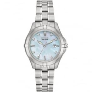 Diamond Ladies Steel Eco-Drive Watch on Bracelet EW1930-50D