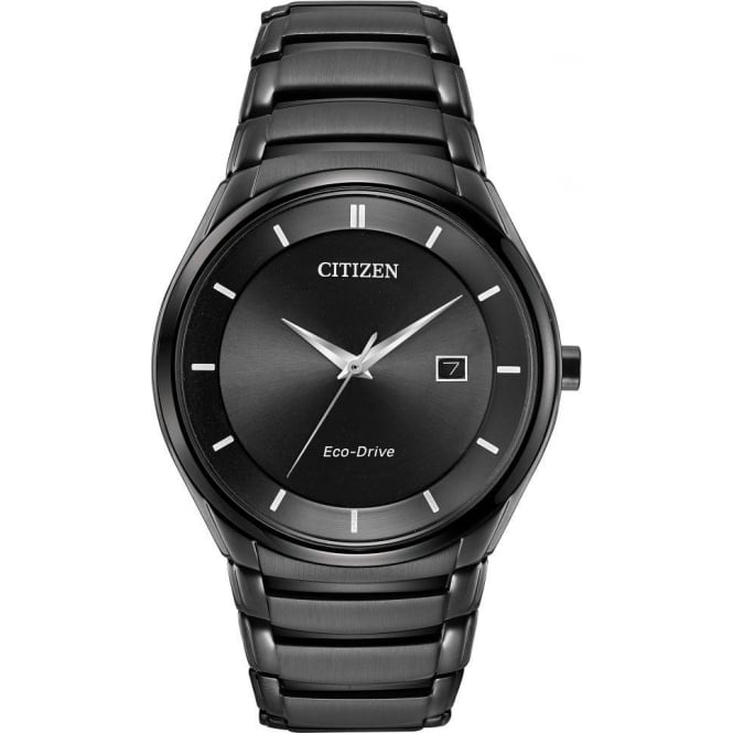 Citizen Watch Gents Black Ionised Eco-Drive Watch on Bracelet BM6955-56E