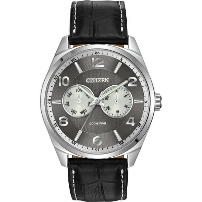 Citizen Watch Gents Stainless Steel Eco-Drive Watch, Leather Strap AO9020-17H