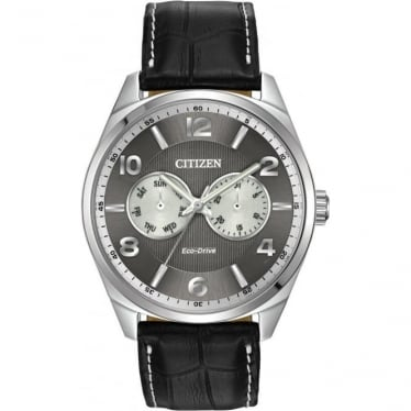 Gents Stainless Steel Eco-Drive Watch, Leather Strap AO9020-17H