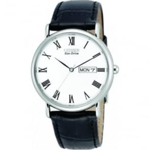 Gents Stainless Steel Eco-Drive Watch, Leather Strap BM8240-11A