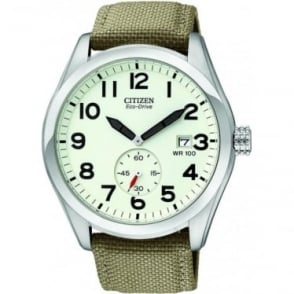 Gents Stainless Steel Eco-Drive Watch on Fabric Strap BV1080-18A