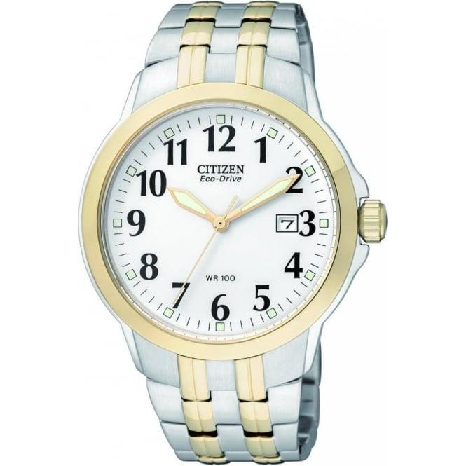 Citizen Watch Gents Two Tone Eco-Drive Clear Watch on Bracelet BM7094-50A