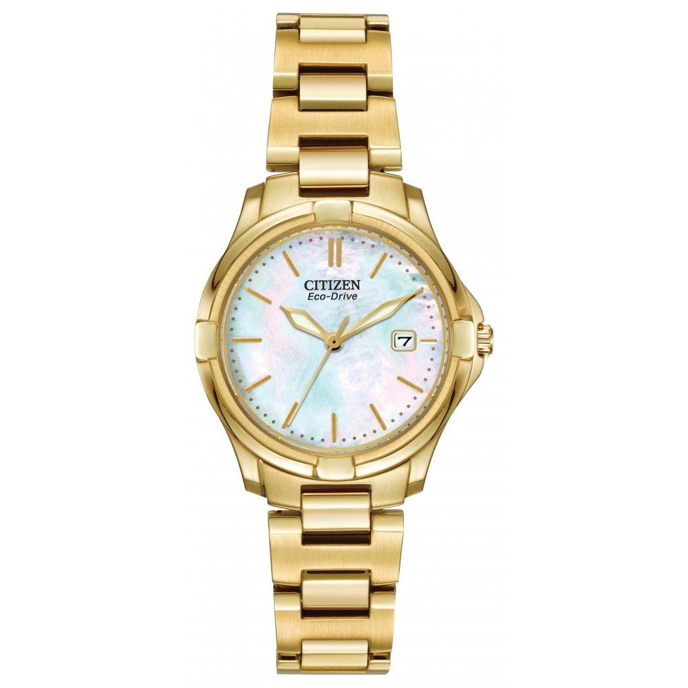 Ladies Gold Tone Citizen Eco-Drive Bracelet Dress Watch EW1962-53D cc0416183