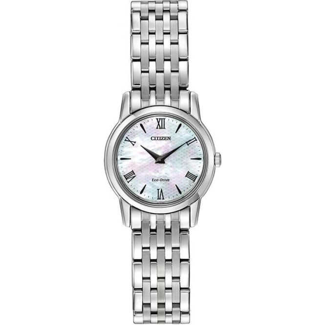 Citizen Watch Ladies Steel Slim Eco-Drive Bracelet Dress Watch EG3040-50D