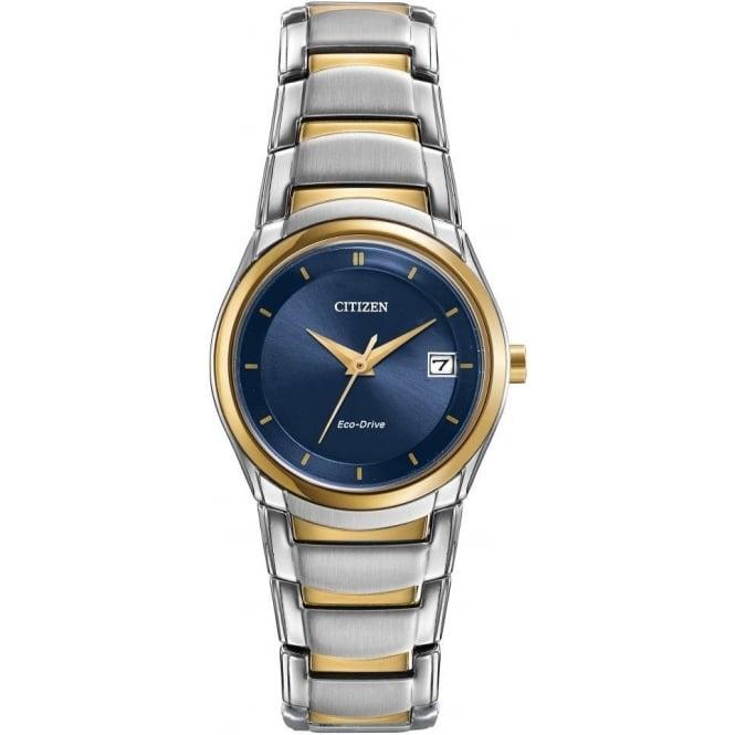 Citizen Watch Ladies Two Tone Eco-Drive Watch on Bracelet EW1944-55L