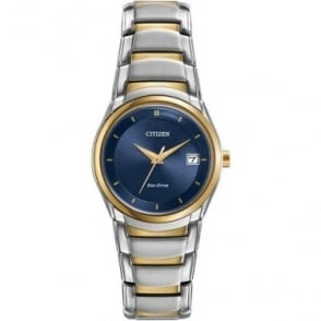 Ladies Two Tone Eco-Drive Watch on Bracelet EW1944-55L