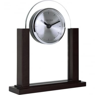 Dark Wood & Glass Modern Battery Mantle Clock 03156