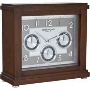 Dark Wooden Battery Mantle Clock with Day & Date 06405