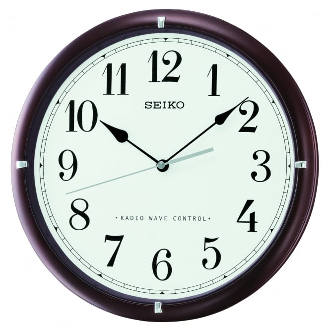 Seiko Clocks Dark Wooden Radio Controlled Wall Clock Diameter 31cm QXR303B