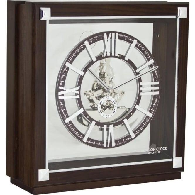 London Clock Company Dark Wooden & Silver Finish Skeleton Mantle Clock 06404