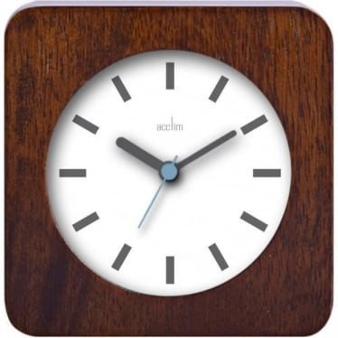Dark Wooden Square Quartz Battery Mantle Clock - Syon 33776