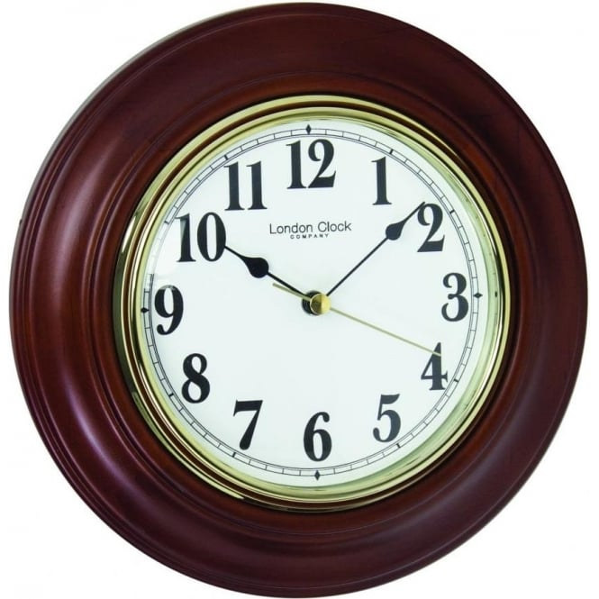 london clock company dark wooden wall clock with clear