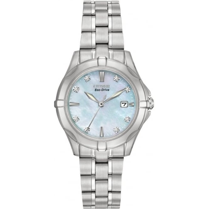 Citizen Watch Diamond Ladies Steel Eco-Drive Watch on Bracelet EW1930-50D
