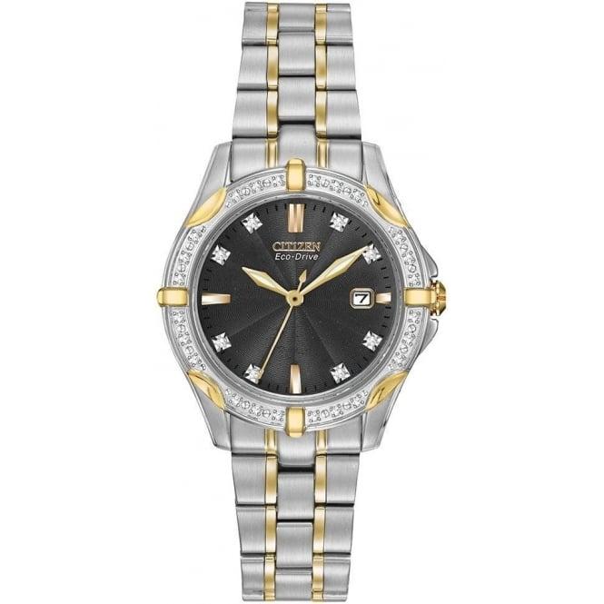 Citizen Watch Diamond Ladies Two Tone Eco-Drive Watch on Bracelet EW1924-52H