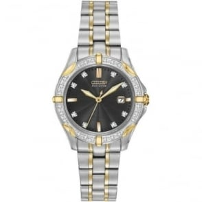 Diamond Ladies Two Tone Eco-Drive Watch on Bracelet EW1924-52H