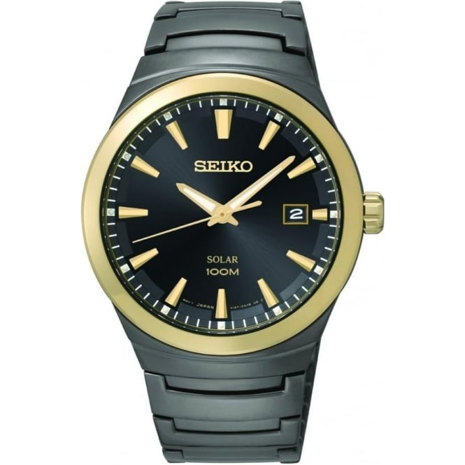 Seiko Watches Gents Black Ion Stainless Steel Solar Bracelet Watch SNE252P1