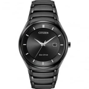 Gents Black Ionised Eco-Drive Watch on Bracelet BM6955-56E