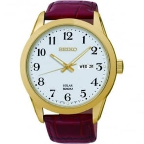 Gents Gold Finish Solar Watch on Leather Strap SNE372P1