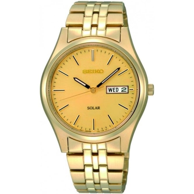 Seiko Watches Gents Gold Plated Solar Watch on Bracelet SNE036P1