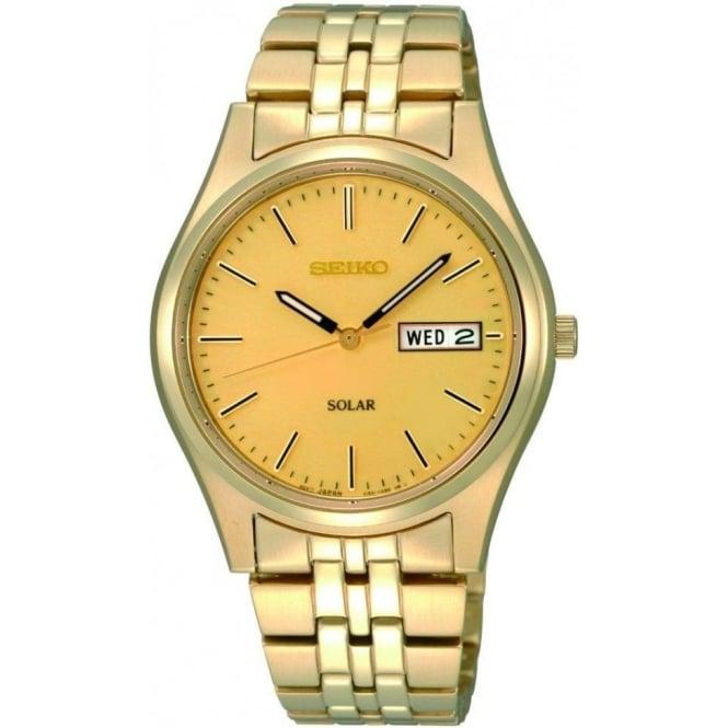 Gents Gold Plated Solar Watch on Bracelet SNE036P1