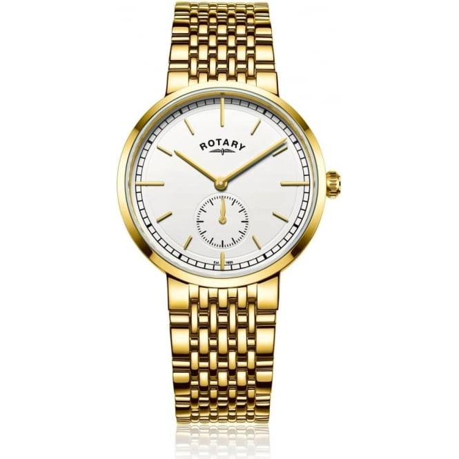 Rotary Watches Gents Gold Tone Rotary Battery Watch Canterbury GB05062/02