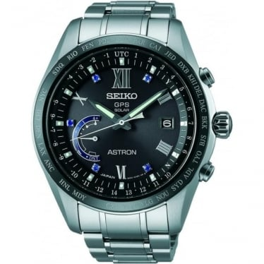 Gents Seiko Astron Titanium Solar GPS Watch on Bracelet SSE117J1